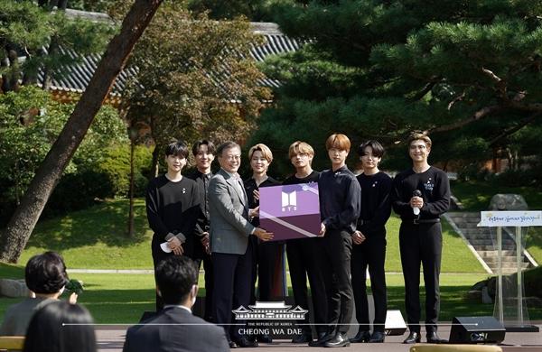 작년 9월 19일, 제1회 청년의 날 행사에 참석한 BTS(방탄소년단).(출처=청와대)