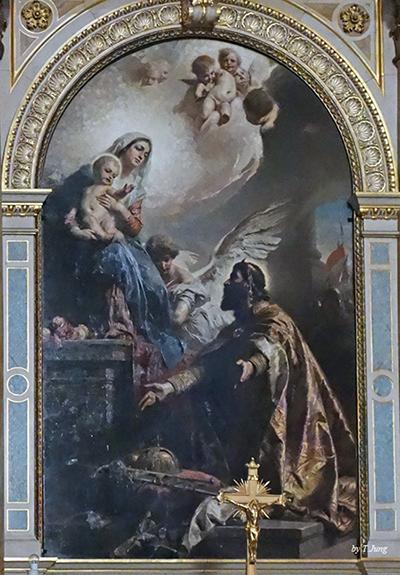 아기 예수를 안고 있는 성모 마리아에게 왕관을 바치는 이슈트반 1세.