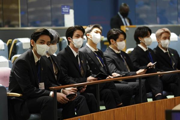 그룹 BTS(방탄소년단)가 20일(현지시각) 뉴욕 유엔본부 총회장에서 열린 제2차 SDG Moment(지속가능발전목표 고위급회의) 개회식에 참석해있다. (사진=저작권자(c) 연합뉴스, 무단 전재-재배포 금지)