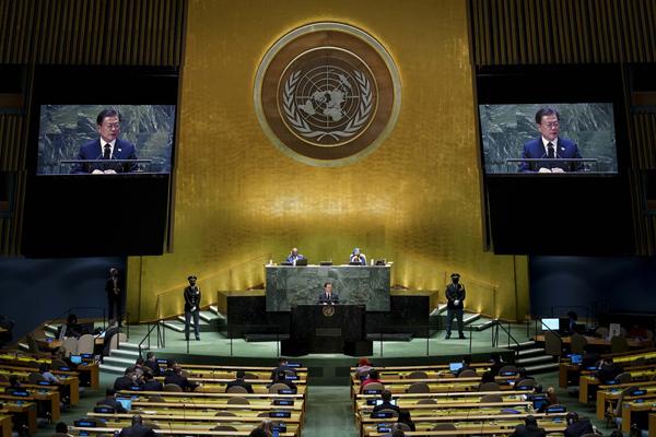 문재인 대통령이 21일(현지시각) 미국 뉴욕 유엔 총회장에서 기조연설을 하고 있다. (사진=저작권자(c) 연합뉴스, 무단 전재-재배포 금지)