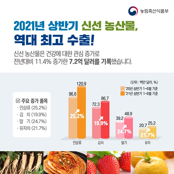 2021년 상반기 신선 농산물, 역대 최고 수출!