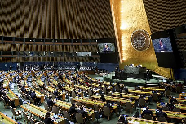 문재인 대통령이 21일(현지시각) 미국 뉴욕 유엔 총회장에서 기조연설을 하고 있다. (사진=청와대)