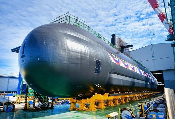 3000t급 잠수함 3번함 신채호함 진수. (사진=해군)