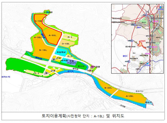 성남낙생 지구 토지이용계획 및 위치도