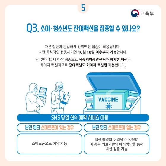 Q3. 소아·청소년도 잔여백신을 접종할 수 있나요?