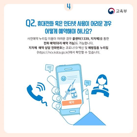 Q2. 휴대전화 혹은 인터넷 사용이 어려운 경우 어떻게 예약해야 하나요?