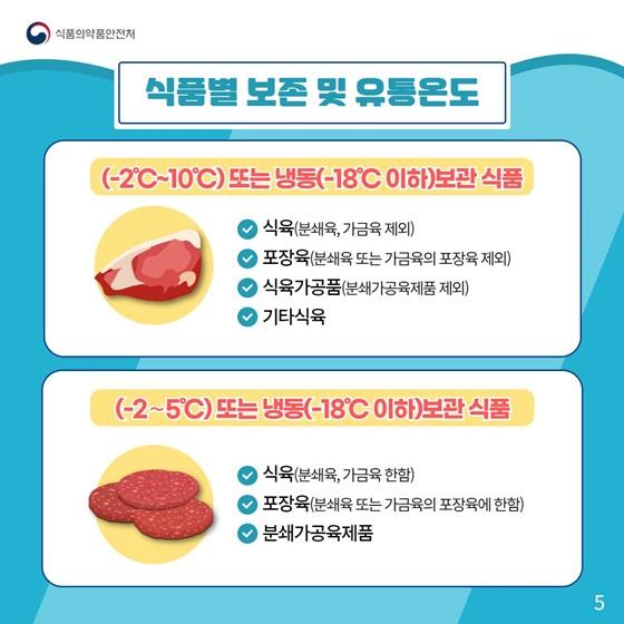 (-2°C~10°C)또는 냉동(-18°C 이하)보관 식품 / (-2°C~5°C) 또는 냉동(-18°C 이하)보관 식품