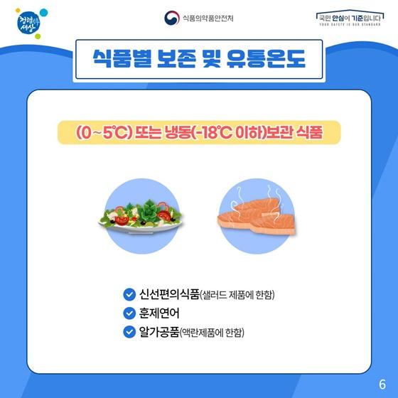 (0~5°C) 또는 냉동(-18°C 이하)보관 식품
