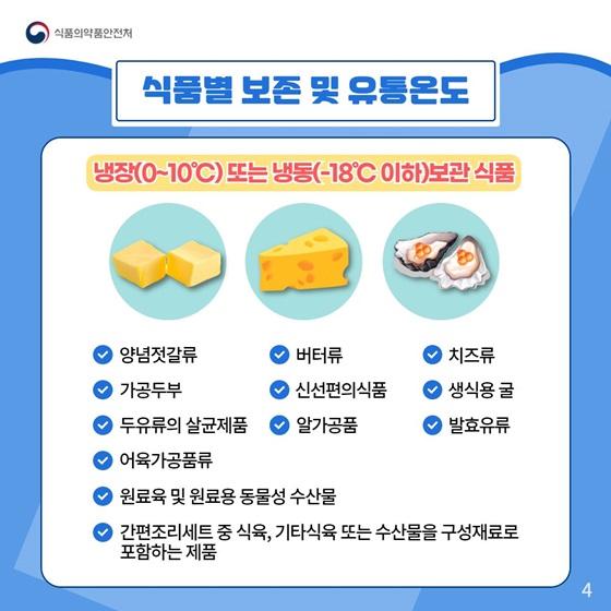 냉장(0~10°C) 또는 냉동(-18°C 이하)보관 식품
