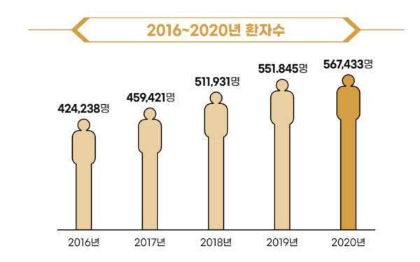 건강보험심사평가원에 따르면 국내 치매 환자가 2024년 100만 명, 2039년에는 200만 명에 이를 것이라고 한다.(출처=건강보험심사평가원)