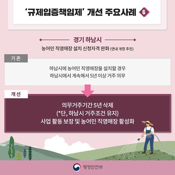 6. 경기 하남시 - 농어민 직영매장 설치 신청자격 완화