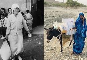 1972년 WEP 식량원조를 받은 후 웃고 있는 한국 여성(사진 왼쪽)과 2021년 WEP를 통해 한국 쌀 원조를 받고 환하게 웃는 에리트리아 난민 케디아(사진=농림축산식품부)