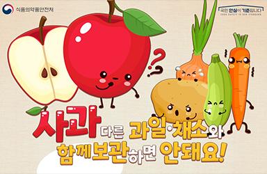 사과는 다른 과일·채소와 함께 보관하면 안 돼요!
