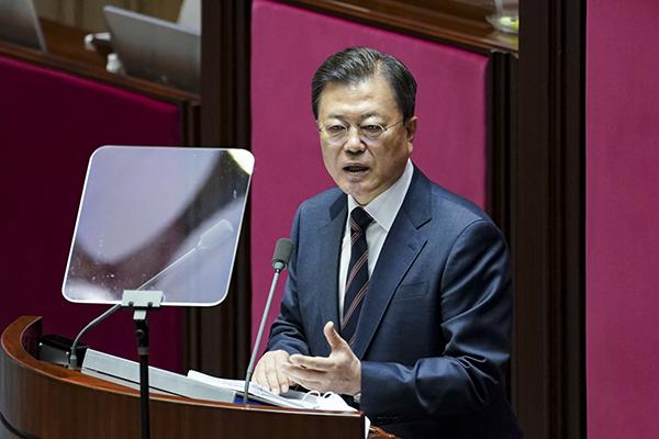 문재인 대통령이 25일 국회 본회의장에서 2022년도 예산안 시정연설을 하고 있다. (사진=청와대)