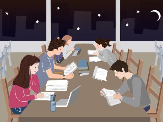 독서실에서 공부하다.