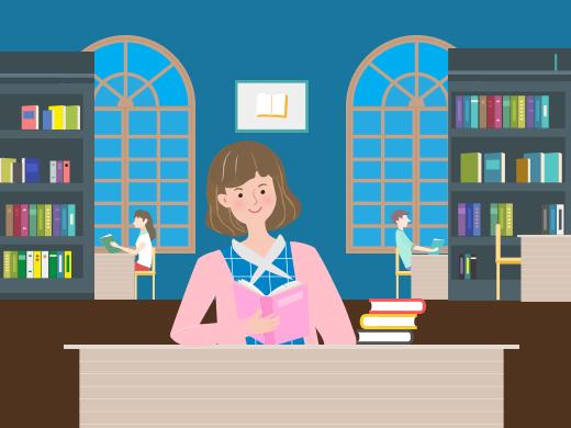 도서관에서 공부하는 모습.