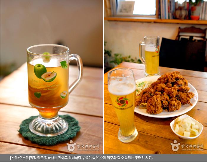 [왼쪽/오른쪽]직접 담근 청귤차는 진하고 상큼하다. / 풍미 좋은 수제 맥주와 잘 어울리는 두머리 치킨