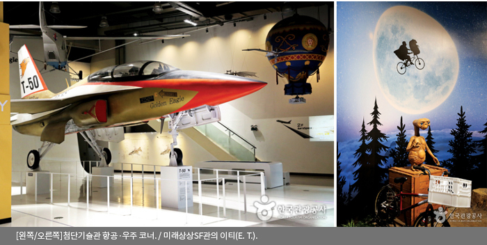 [왼쪽/오른쪽]첨단기술관 항공·우주 코너 / 미래상상SF관의 이티(E. T.)