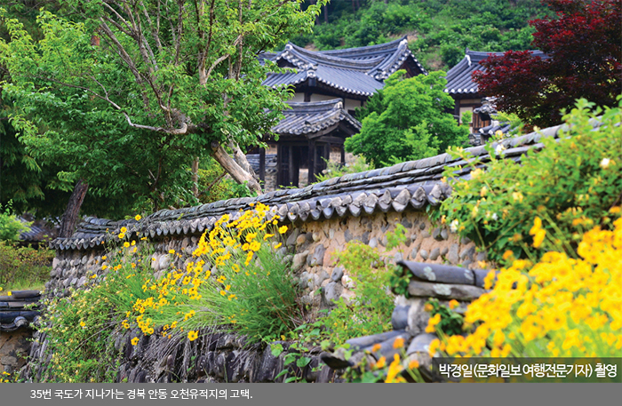 35번 국도가 지나가는 경북 안동 오천유적지의 고택