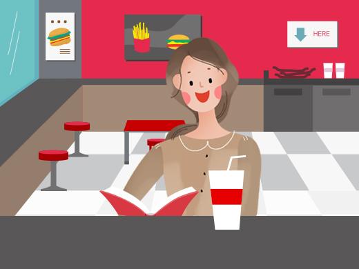 햄버거 가게에서 커피 마시다.