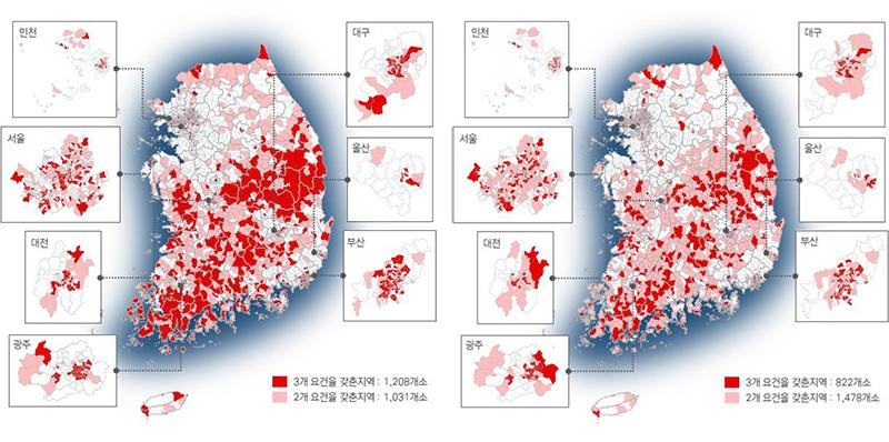 전국 도시쇠퇴 현황 비교