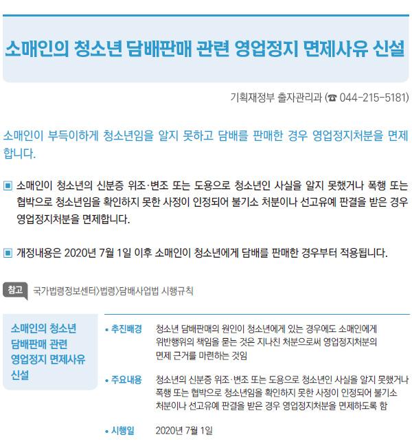 소매인의 청소년 담배판매 관련 영업정지 면제사유 신설 (기획재정부)