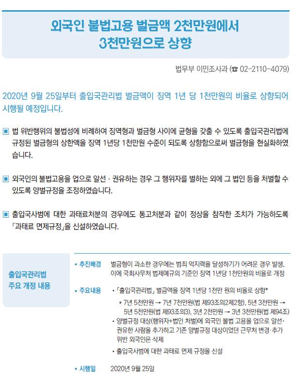외국인 불법고용 벌금액 2천만원에서 3천만원으로 상향 (법무부)