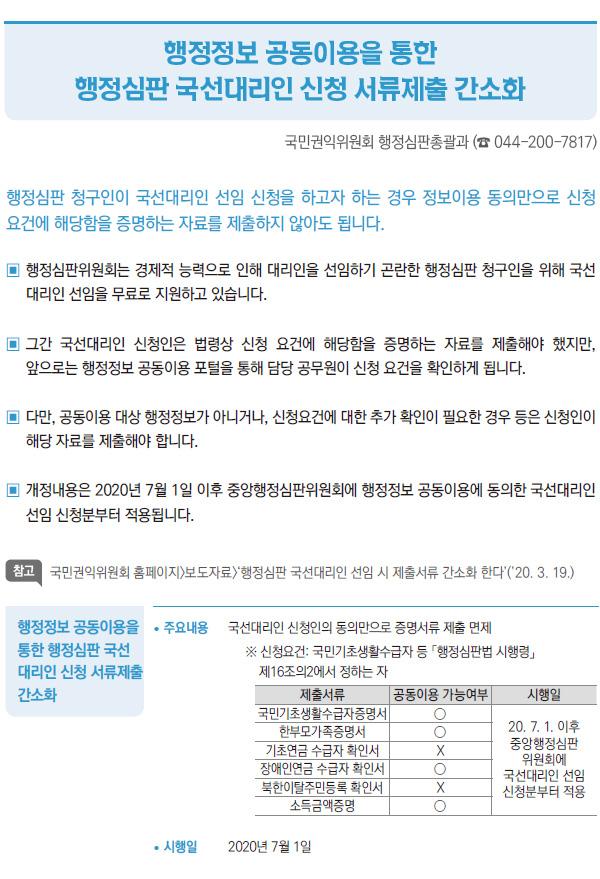 행정정보 공동이용을 통한 행정심판 국선대리인 신청 서류제출 간소화 (국민권익위원회)
