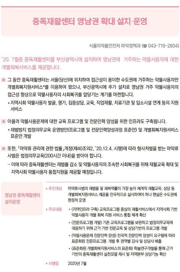 중독재활센터 영남권 확대 설치·운영 (식품의약품안전처)