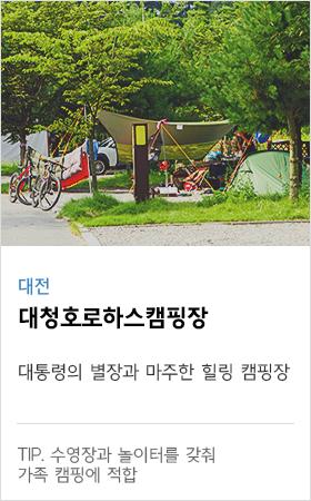 대전 대청호로하스캠핑장 대통령의 별장과 마주한 힐링 캠핑장 tip. 수영장과 놀이터를 갖춰 가족 캠핑에 적합