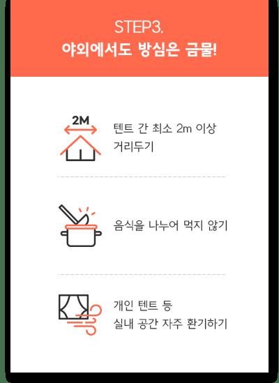 step3. 야외에서도 방슴은 금물! 텐트 간 최소 2m 이상 거리두기, 음식을 나누어 먹지 않기, 개인 텐트등 실내 공간 자주 환기하기