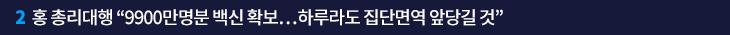 """2. 홍 총리대행 """"9900만명분 백신 확보…하루라도 집단면역 앞당길 것"""""""