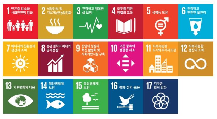 1.빈곤층 감소와 사회안전망 강화 2.식량안보 및 지속가능한 농업 강화 3.건강하고 행복한 삶 보장 4.모두를 위한 양질의 교육 5.성평등 보장 6.건강하고 안전한 물관리 7.에너지의 친환경적 생산과 소비 8.좋은 일자리 확대와 경제성장 9.산업의 성장과 혁신 활성화 및 사회기반시설 구축 10.모든 종류의 불평등 해소 11.지속가능한 도시와 주거지 12.지속가능한 생산과 소비 13.기후변화와 대응 14.해양생태계 보전 15.육상생태계 보전 16.평화·정의·포용 17.지구촌 협력 강화