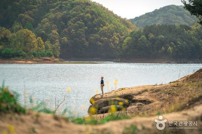 봄의 부소담악은 다양한 초록빛을 선보인다 - 한국관광공사