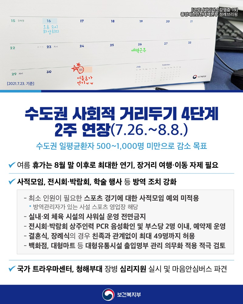 수도권 사회적 거리두기 4단계 2주 연장 (7.26.~8.8.) 하단내용 참조