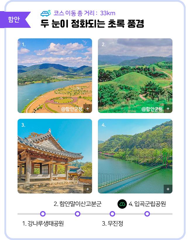 함안 코스 이동 총 거리: 33㎞ 두 눈이 정화되는 초록 풍경 1.강나루생태공원 2.함안말이산고분군 3.무진정 4.입곡군립공원(전기차 충전소)