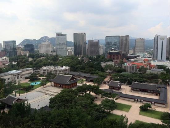 옥상정원에서 본 서울 거리