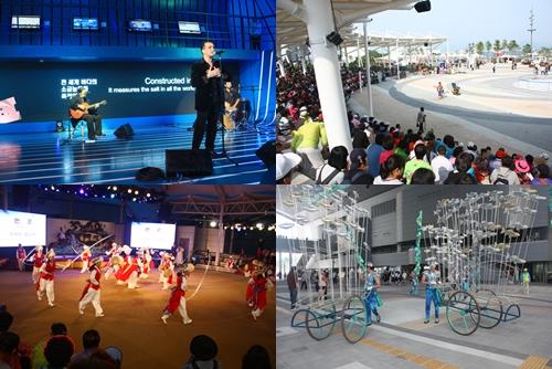 매일매일 다채로운 주제의 공연으로 가득찬 여수엑스포는 길거리 공연만으로도 여수엑스포에 올만한 가치가 있다.